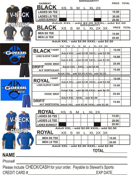 goessel usd 411 goessel football 2013 apparel order form. Black Bedroom Furniture Sets. Home Design Ideas